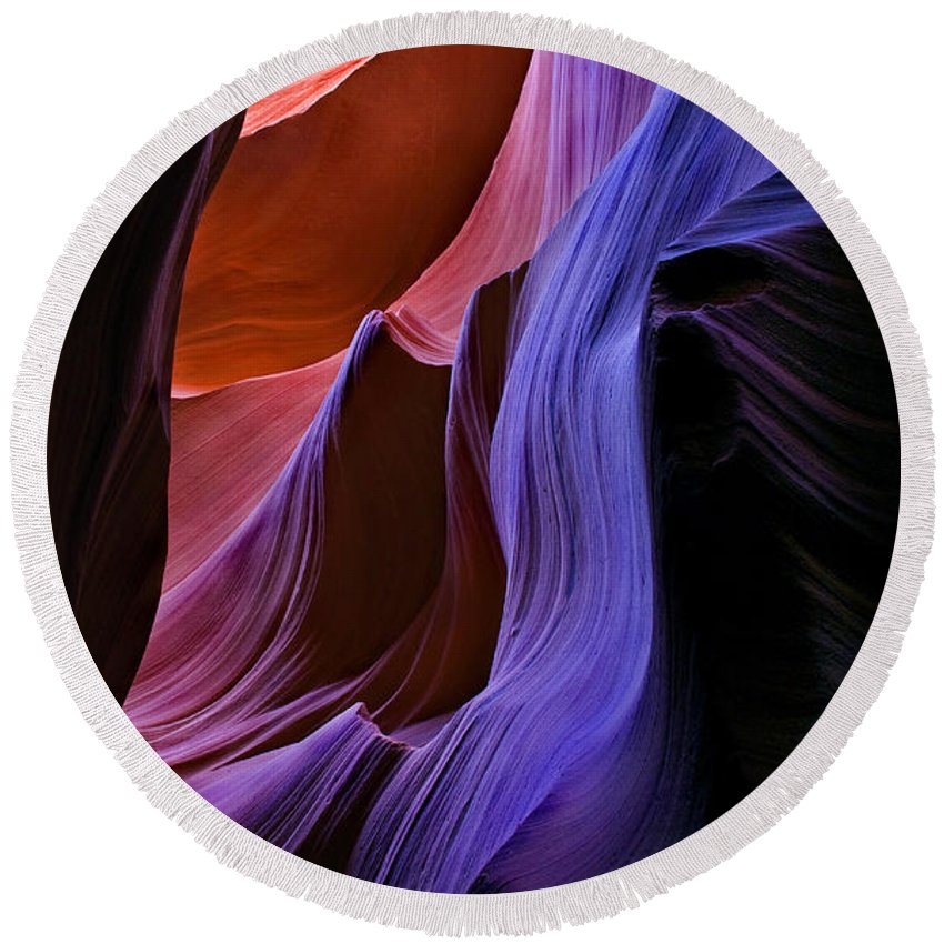 Sandstone Round Beach Towel featuring the photograph Sandstone Cascade by Mike Dawson