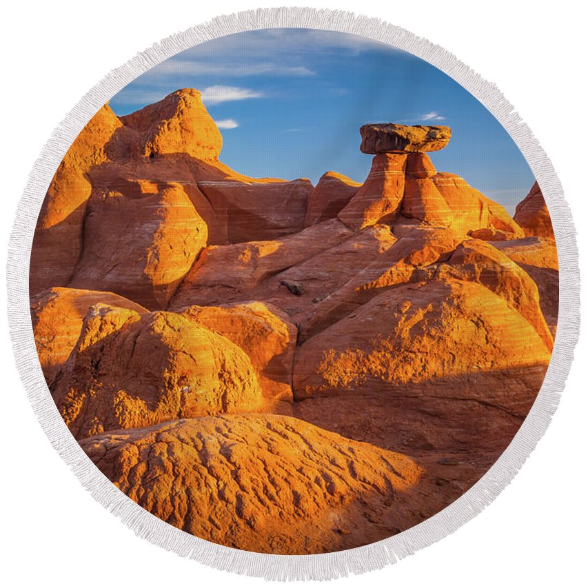 America Round Beach Towel featuring the photograph Sandstone Castle by Inge Johnsson