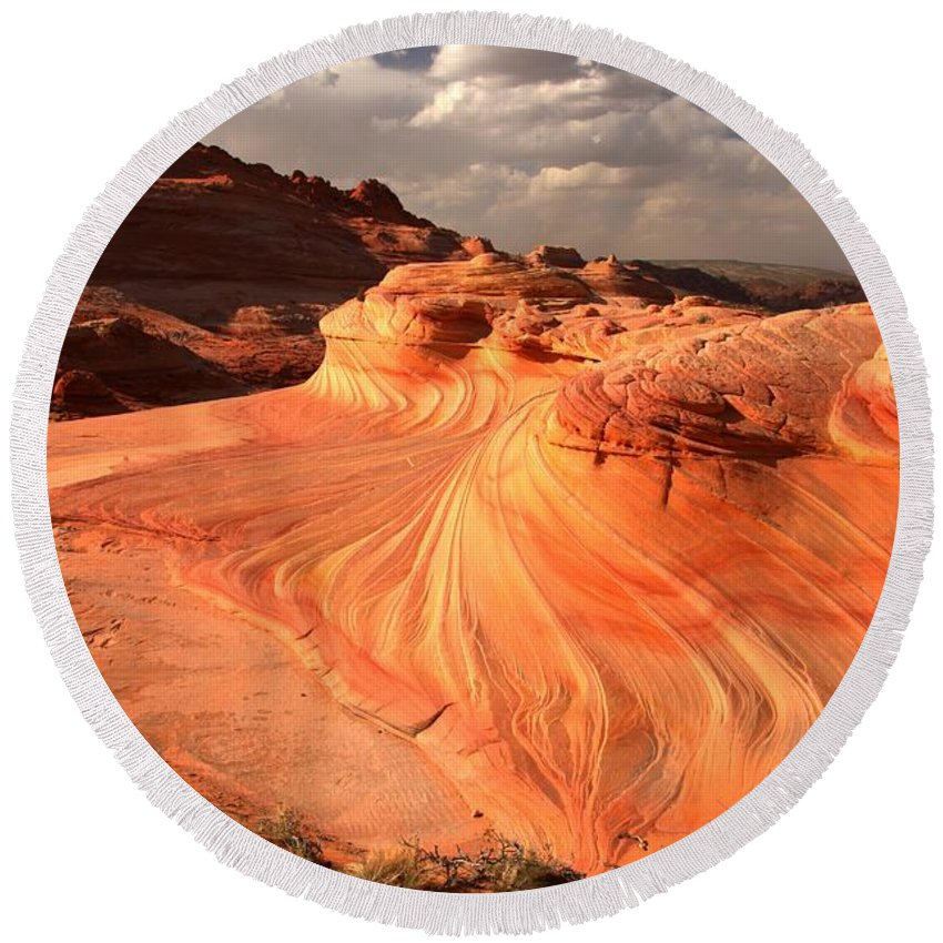 The Wave Round Beach Towel featuring the photograph Sandstone Dragon Portrait View by Adam Jewell