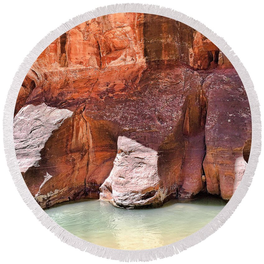 Sandstone Round Beach Towel featuring the photograph Sandstone Toes In The Virgin River by Robert Meyers-Lussier