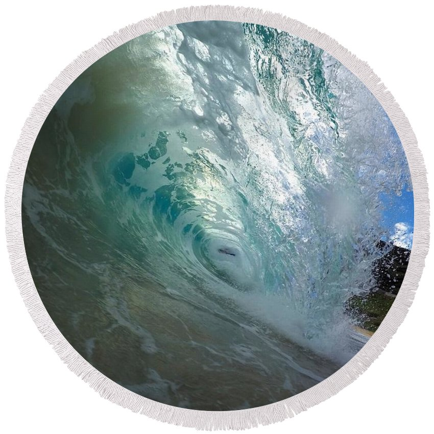 Wave Round Beach Towel featuring the photograph Sandy Cascade by Benen Weir