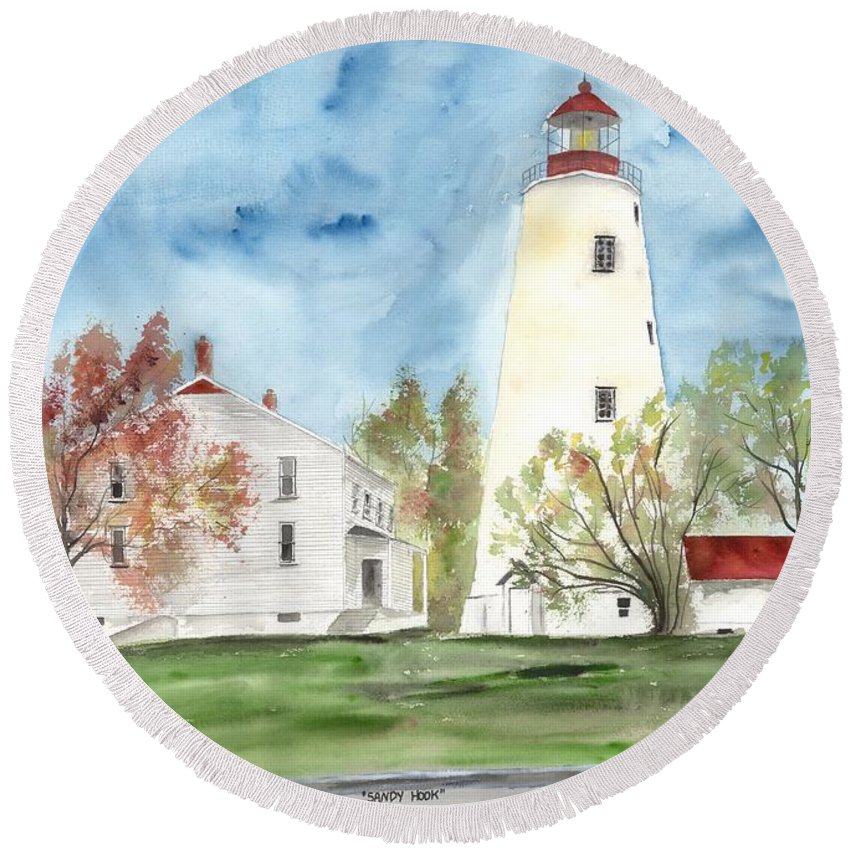 Watercolor Round Beach Towel featuring the painting Sandy Hook Lighthouse by Derek Mccrea