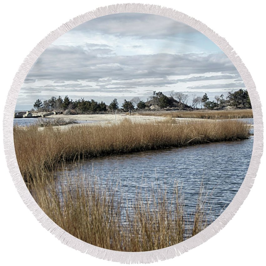 Sandy Hook Round Beach Towel featuring the photograph Sandy Hook New Jersey by Eleanor Bortnick