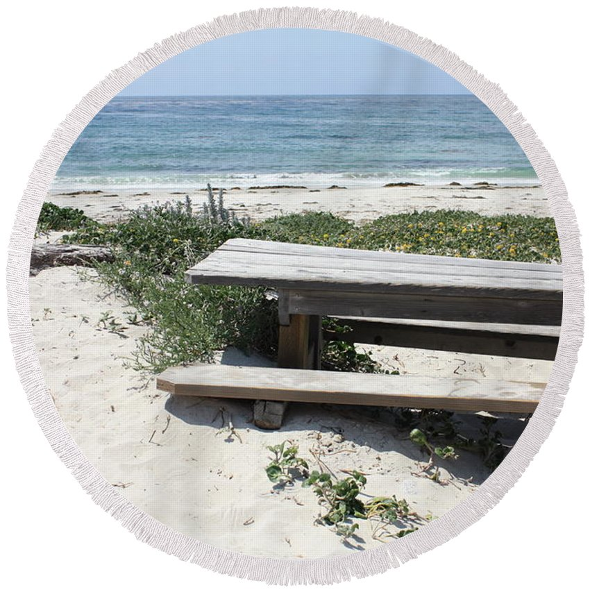 Picnic Table Round Beach Towel featuring the photograph Sandy Picnic Table by Carol Groenen