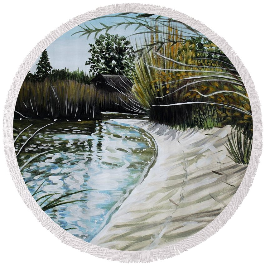 Landscape Round Beach Towel featuring the painting Sandy Reeds by Elizabeth Robinette Tyndall