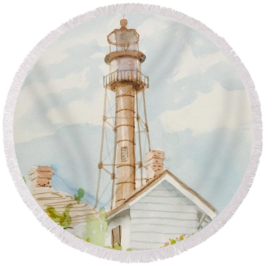 Sanibel Captiva Round Beach Towel featuring the painting Sanibel Lighthouse 2 by Maggii Sarfaty