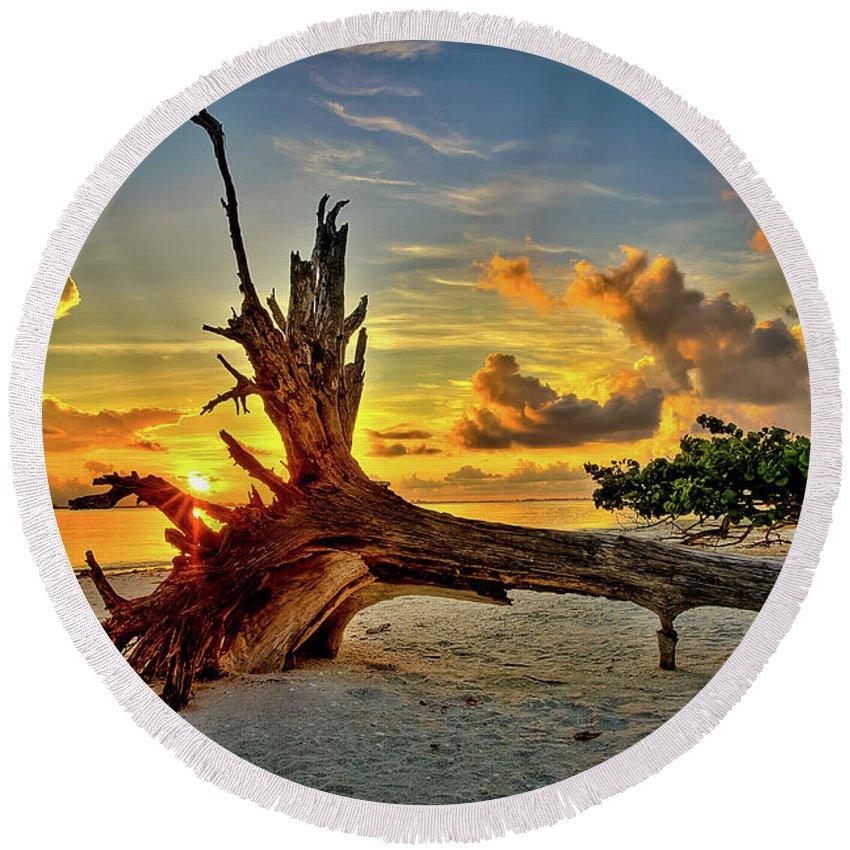 Sanibel Sunrise Round Beach Towel featuring the photograph Sanibel Sunrise by Dennis Goodman