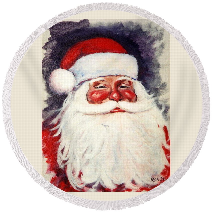 Portrait Round Beach Towel featuring the painting Santa 1 by Ronald Dill