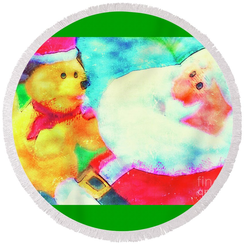 Santa Claus Round Beach Towel featuring the digital art Santa And Pup by Davy Cheng