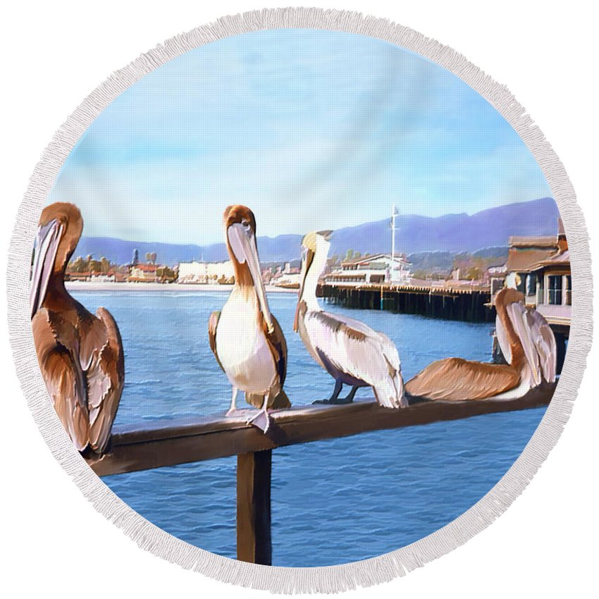 Harbor Round Beach Towel featuring the photograph Santa Barbara Pelicans by Kurt Van Wagner