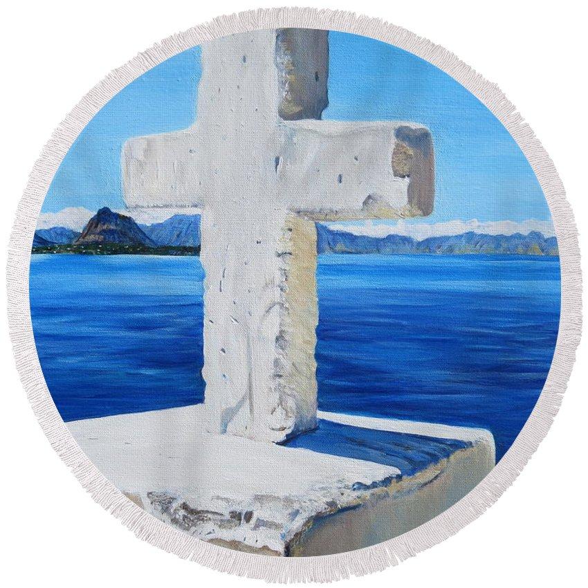 Santa Catarina Round Beach Towel featuring the painting Santa Catarina's Cross by Marilyn McNish