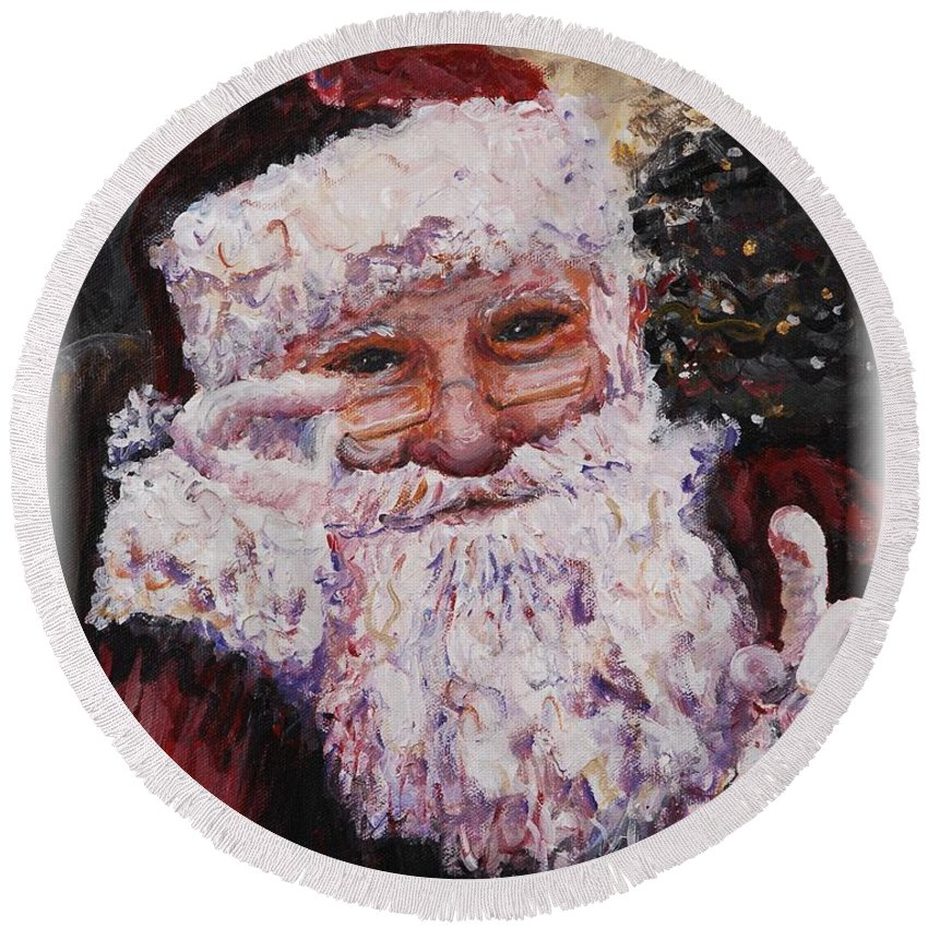 Santa Round Beach Towel featuring the painting Santa Chat by Nadine Rippelmeyer