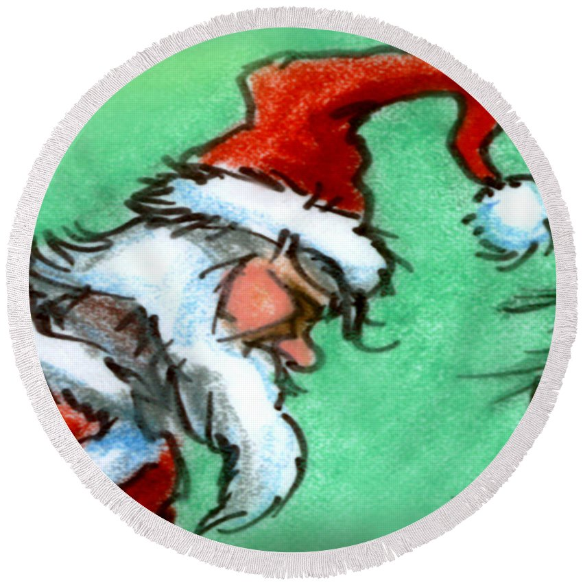 Santa Round Beach Towel featuring the painting Santa Claus by Kevin Middleton