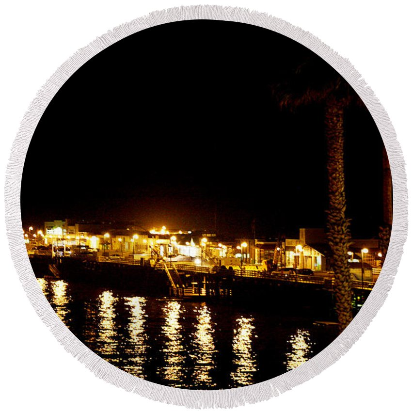 Pier Round Beach Towel featuring the photograph Santa Cruz Pier At Night by Marilyn Hunt
