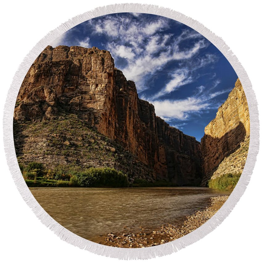 America Round Beach Towel featuring the photograph Santa Elena Canyon 1 by Judy Vincent