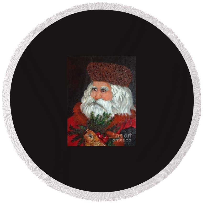Santa Round Beach Towel featuring the painting Santa by Portraits By NC