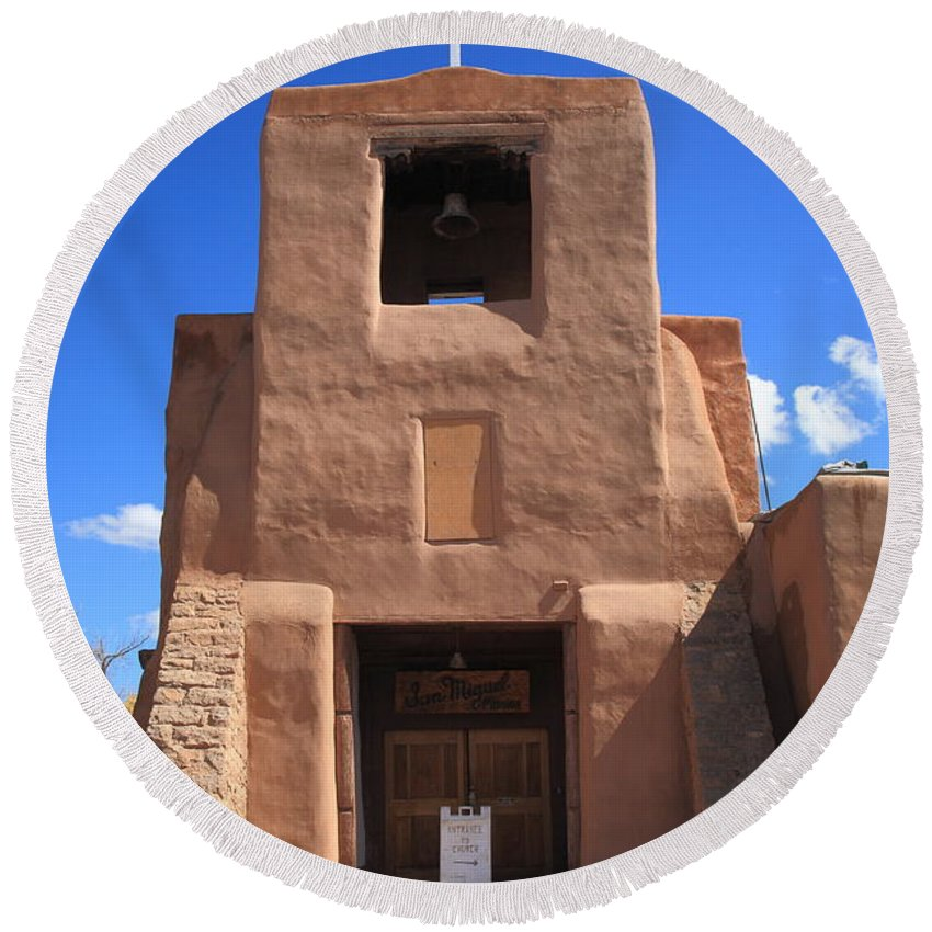66 Round Beach Towel featuring the photograph Santa Fe - San Miguel Chapel by Frank Romeo