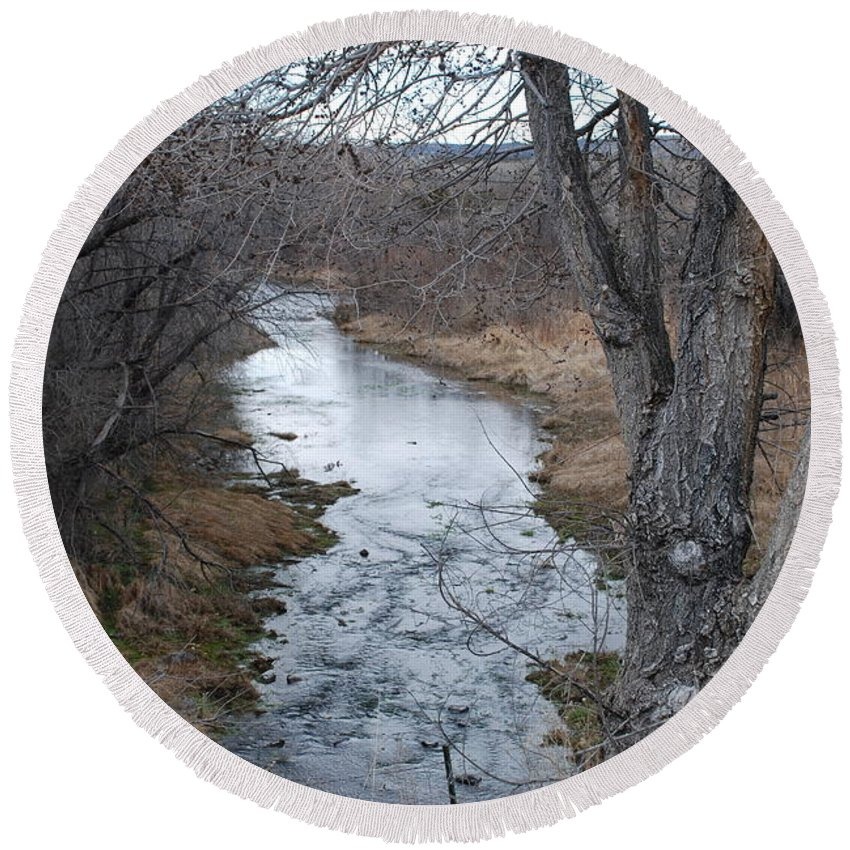 Santa Fe Round Beach Towel featuring the photograph Santa Fe River by Rob Hans