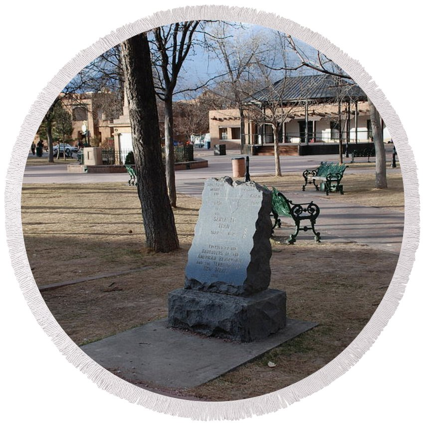 Parks Round Beach Towel featuring the photograph Santa Fe Trail Marker by Rob Hans