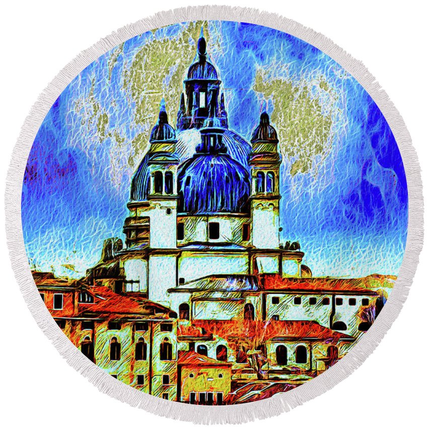 Venice Round Beach Towel featuring the photograph Santa Maria Venice by Jack Torcello