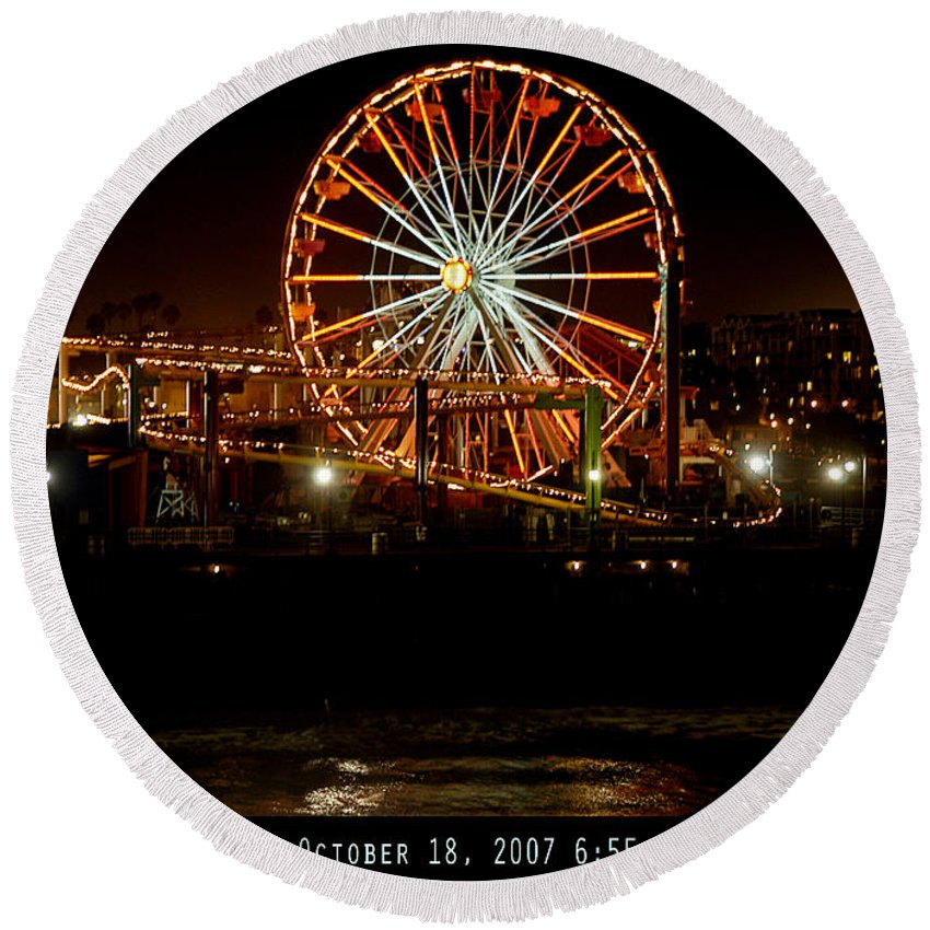 Clay Round Beach Towel featuring the photograph Santa Monica Pier October 18 2007 by Clayton Bruster