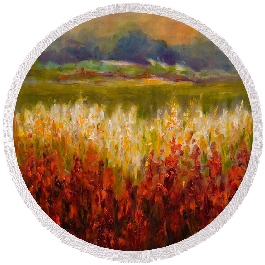 Landscape Round Beach Towel featuring the painting Santa Rosa Valley by Shannon Grissom