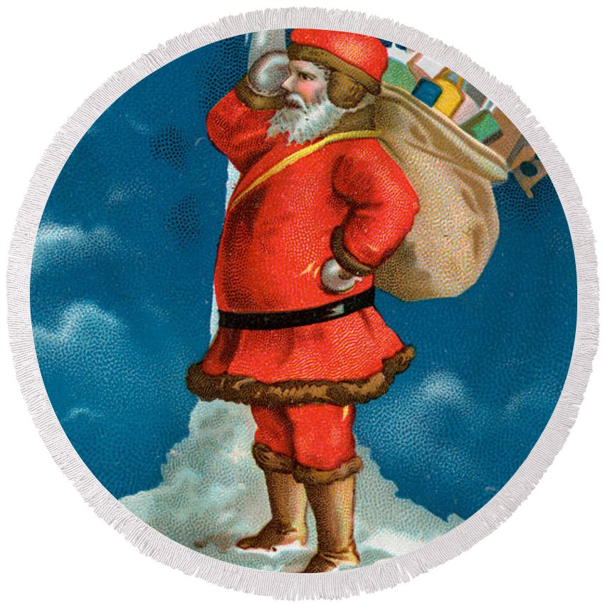 Christmas Round Beach Towel featuring the painting Santa Standing On The Globe by American School