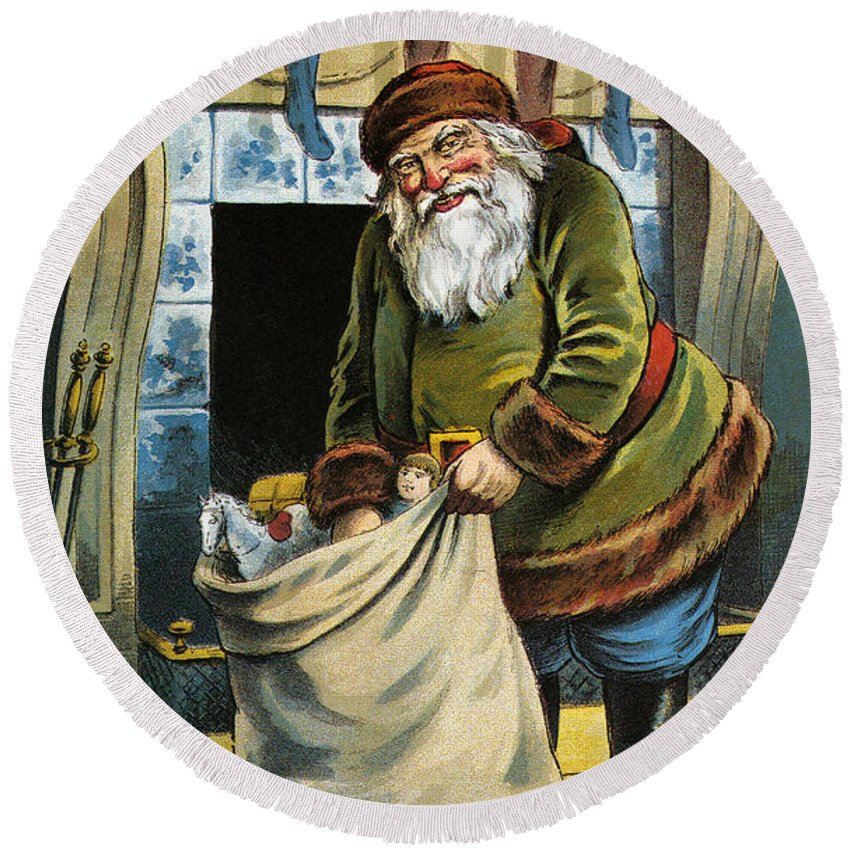 Santa Unpacks His Bag Of Toys On Christmas Eve Round Beach Towel featuring the painting Santa Unpacks His Bag Of Toys On Christmas Eve by William Roger Snow