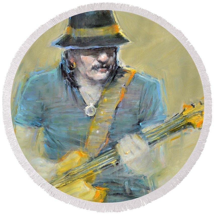 Santana Round Beach Towel featuring the painting Santana by September McGee