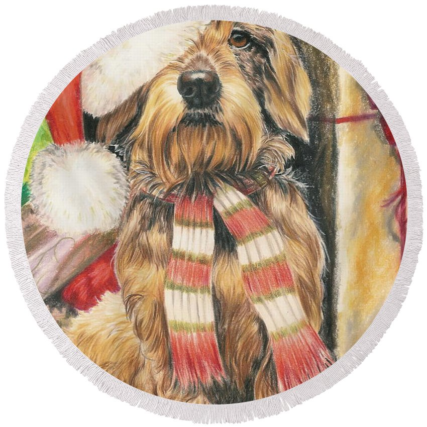 Hound Group Round Beach Towel featuring the drawing Santas Little Yelper by Barbara Keith