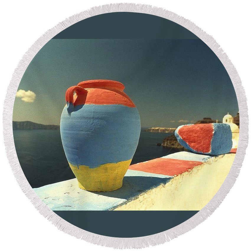 Colorful Round Beach Towel featuring the photograph Santorini Color by David Coleman