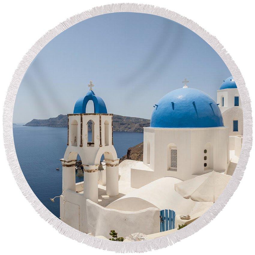 Greece Round Beach Towel featuring the photograph Santorini Oia Churches Stitched Panorama by Antony McAulay