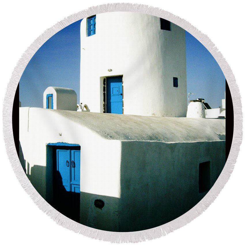 Santorini Round Beach Towel featuring the photograph Santorini Silo With Border by Sonal Dave