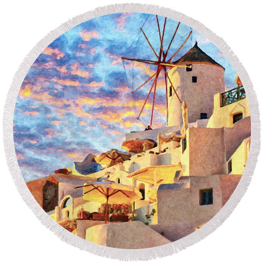 Digital Round Beach Towel featuring the painting Santorini Windmill At Oia Digital Painting by Antony McAulay