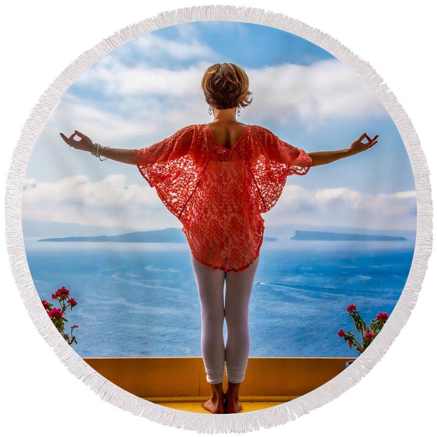 Santorini Round Beach Towel featuring the photograph Santorini Yoga Goddess by Stuart Smith