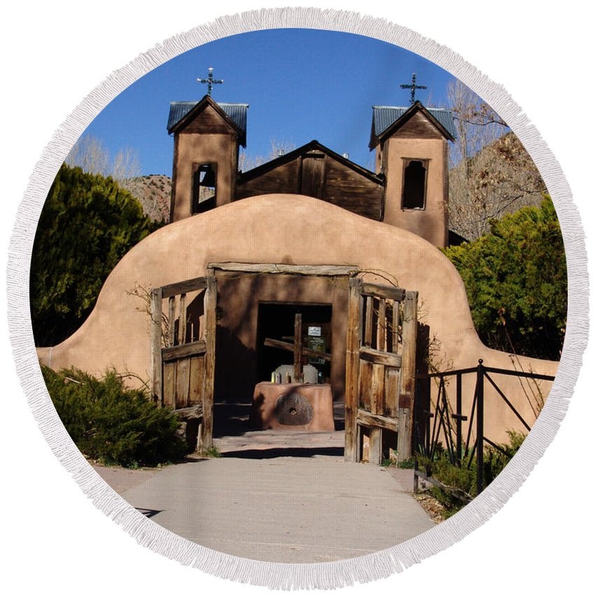 Church Round Beach Towel featuring the photograph Santuario De Chimayo Adobe Chapel by Carol Milisen
