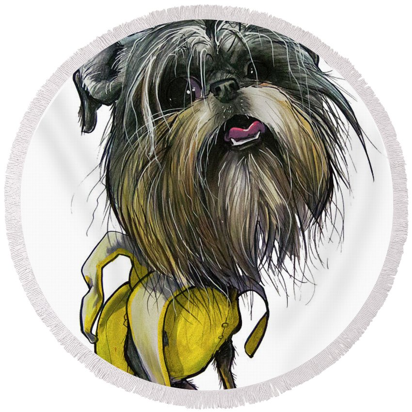 Brussels Griffon Round Beach Towel featuring the drawing Sao The Banana Man by John LaFree