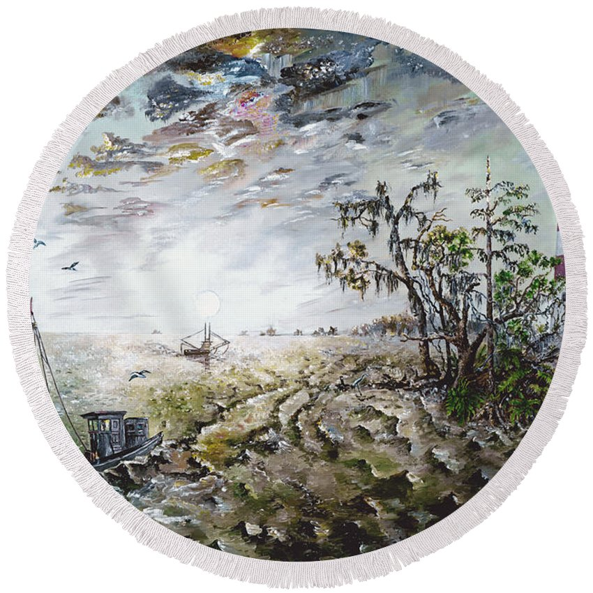 Lighthouse Round Beach Towel featuring the painting Sapelo Island by Richard Barham