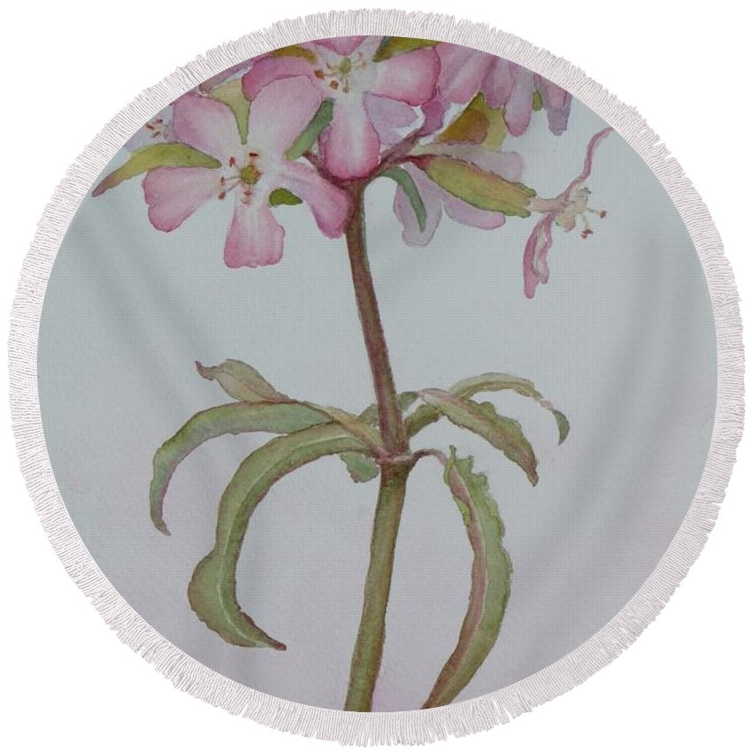 Flower Round Beach Towel featuring the painting Saponaria by Ruth Kamenev