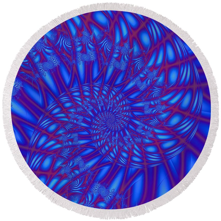 Love Flower Blue Teal Green Fantasy Abstract Digital Ocean Leaf Plant Photo Fractal Fine Art Black Round Beach Towel featuring the photograph Sapphire Swirl by Regina Rodella