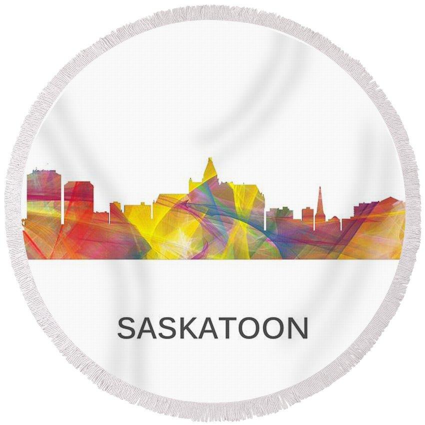 Saskatoon Sask.skyline Round Beach Towel featuring the digital art Saskatoon Sask.skyline by Marlene Watson