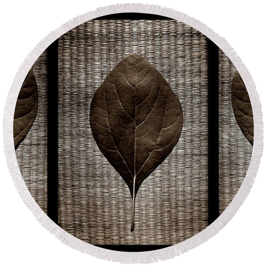 Sassafras Round Beach Towel featuring the photograph Sassafras Leaves With Wicker by Michelle Calkins