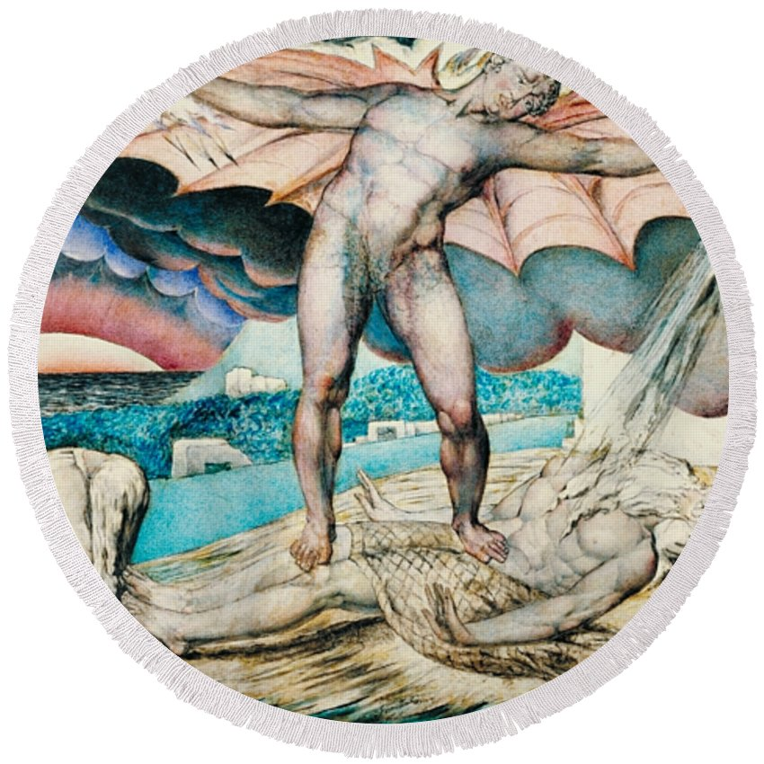 William Blake Round Beach Towel featuring the painting Satan Smiting Job With Sore Boils by William Blake