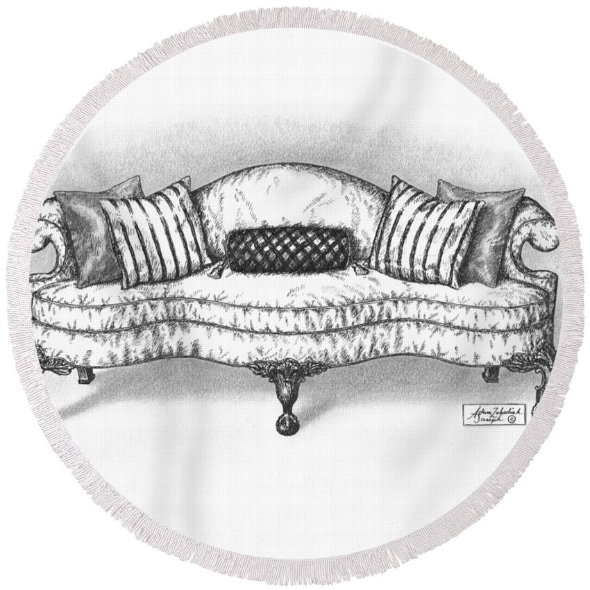 Black Round Beach Towel featuring the drawing Satin Chippendale English Sofa by Adam Zebediah Joseph