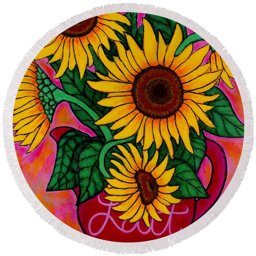 Sunflowers Round Beach Towel featuring the painting Saturday Morning Sunflowers by Lisa Lorenz