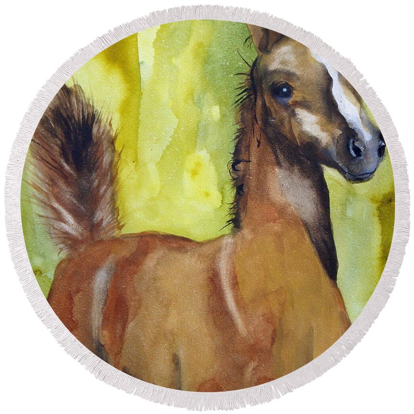Filly Round Beach Towel featuring the painting Saucy by Jean Blackmer