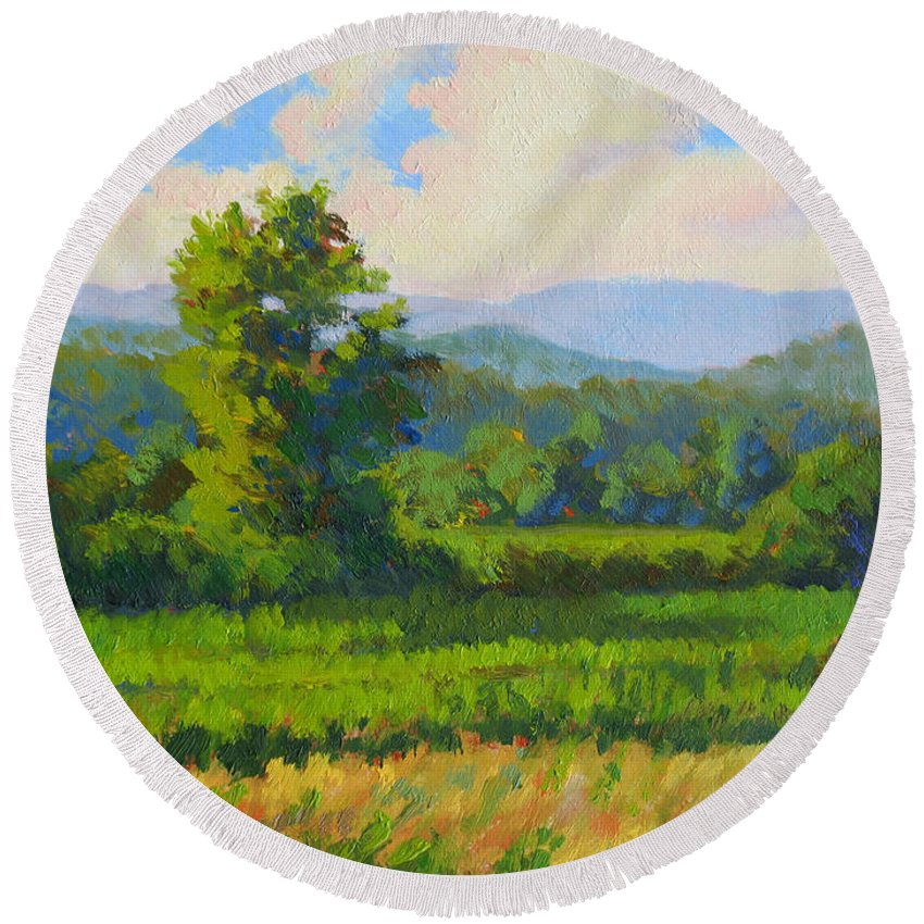 Impressionism Round Beach Towel featuring the painting Sautee Vista by Keith Burgess