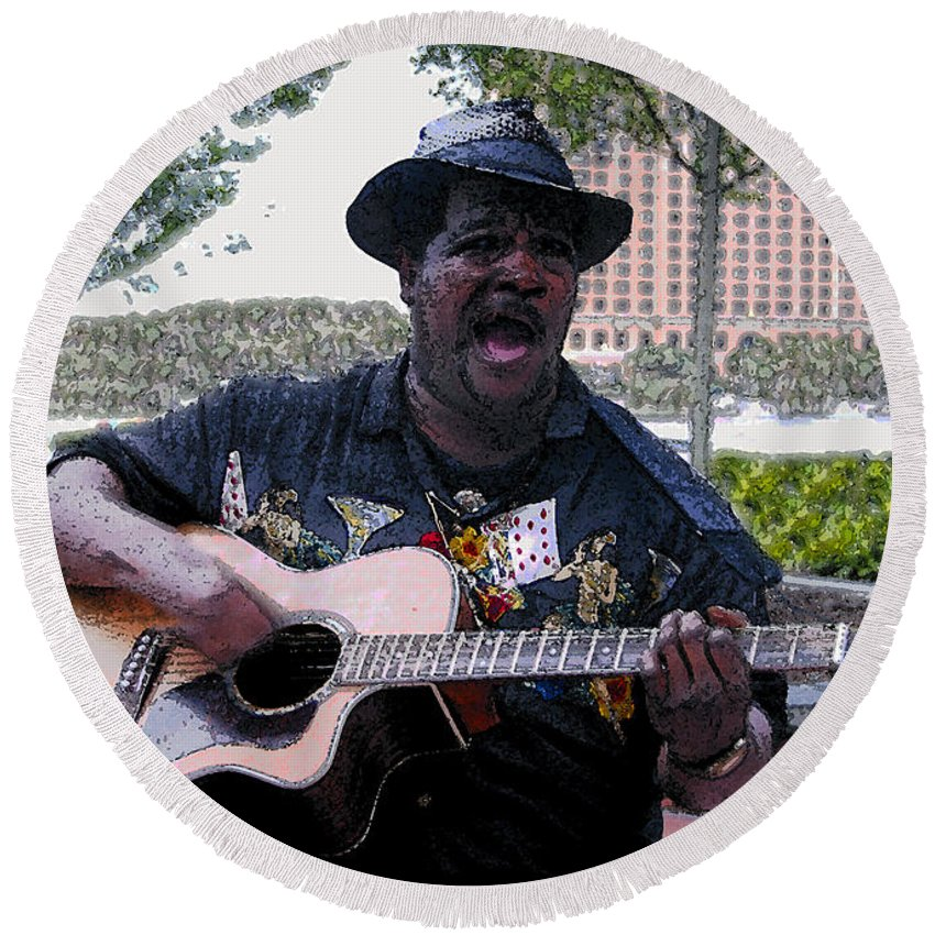 Blues Round Beach Towel featuring the painting Savanna Blues Man by David Lee Thompson