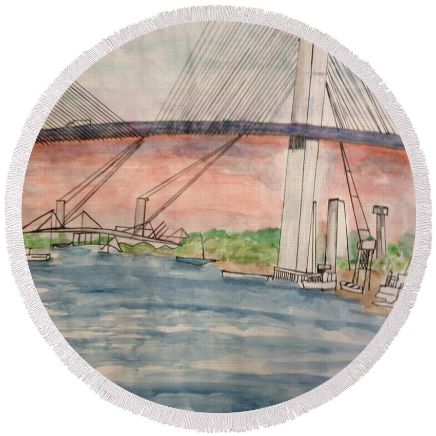 Sea Round Beach Towel featuring the drawing Savanna by Hal Newhouser
