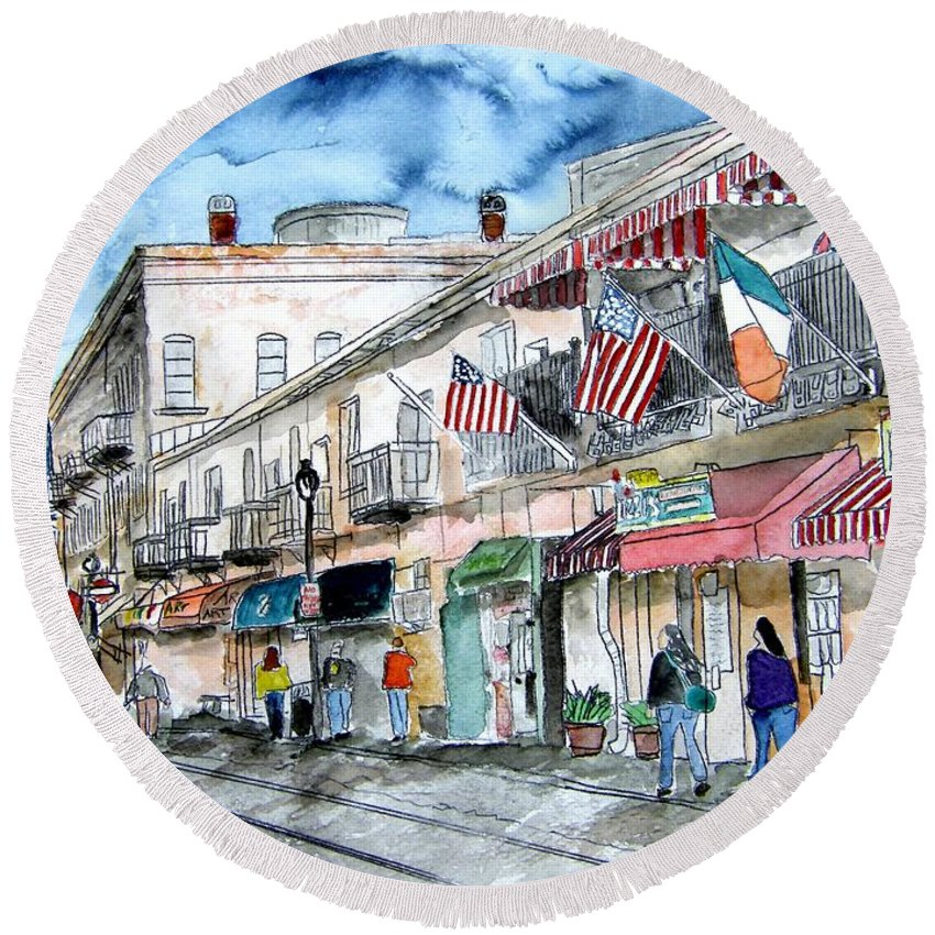 Pen And Ink Round Beach Towel featuring the painting Savannah Georgia River Street by Derek Mccrea